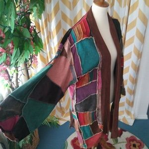 Rising Intnl size S/M patchwork knit open jacket